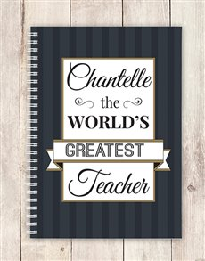 gifts: Personalised Chic Greatest Teacher Notebook!