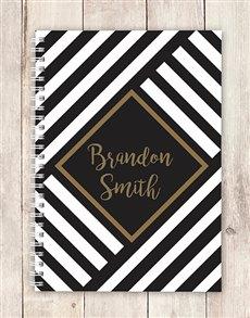 gifts: Personalised Geometric Stripe Notebook!