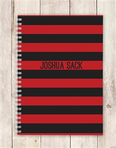 gifts: Personalised Red and Black Striped Notebook!