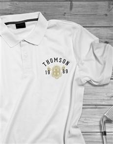 gifts: Personalised Year Badge Golf Shirt!
