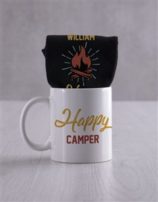 gifts: Personalised Happy Camper Socks And Mug!