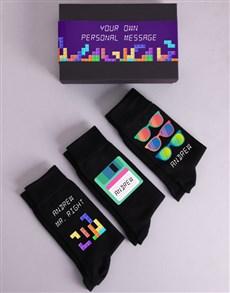 gifts: Personalised Three Pair Eighties Socks Box!
