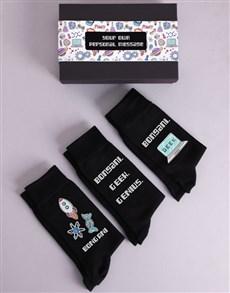gifts: Personalised Three Pair Geek Socks Box!