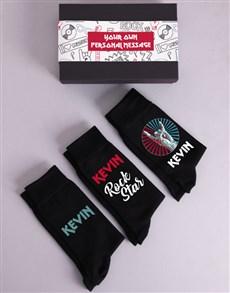 gifts: Personalised Three Pair Rock Star Socks Box!
