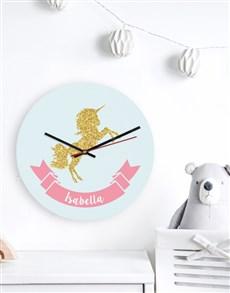 gifts: Personalised Glitter Unicorn Clock!