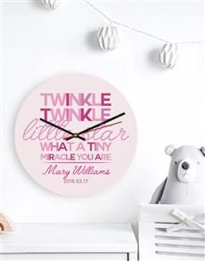 gifts: Personalised Pink Twinkle Clock!