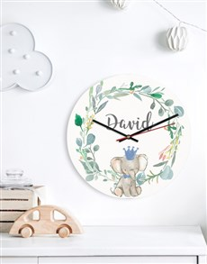 gifts: Personalised Baby Elephant Clock!