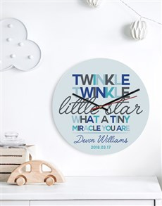 gifts: Personalised Blue Twinkle Clock!