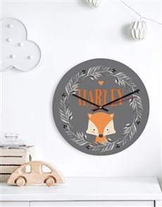 gifts: Personalised Fox Wreath Clock!