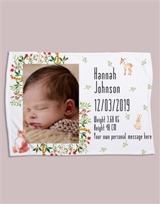gifts: Personalised Forest Friends Birth Fleece Blanket!
