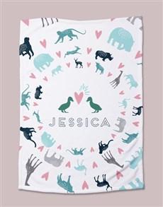 gifts: Personalised Pastel Animal Bed Set!