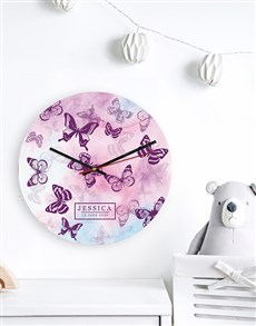 gifts: Personalised Watercolour Butterfly MDF Clock!