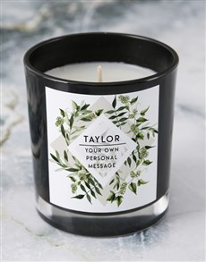 gifts: Personalised Foilage Black Candle!