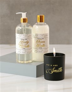 gifts: Personalised Mr and Mrs Foil Candle!