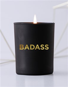 gifts: Personalised Foil Message Black Candle!