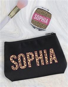 gifts: Personalised Animal Print Cosmetic Bag!
