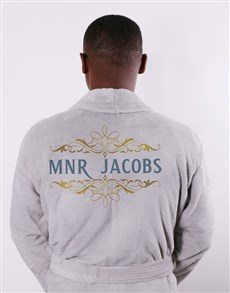 gifts: Personalised Mnr Grey Fleece Gown!
