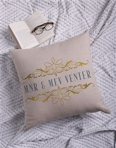 gifts: Personalised Mnr & Mev Scatter Cushion!