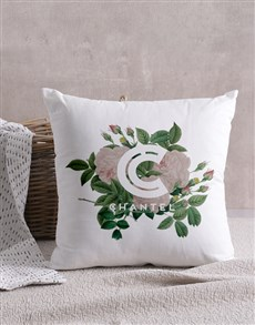 gifts: Personalised Floral Initial Scatter Cushion!