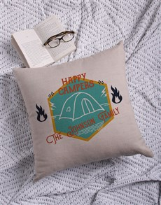 gifts: Personalised Happy Campers Scatter Cushion!