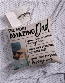 gifts: Personalised Amazing Dad Photo Scatter Cushion!