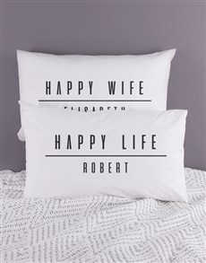 gifts: Personalised Happy Life Pillowcase Set!