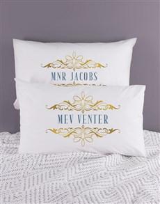 gifts: Personalised Mnr & Mev Pillowcase Set!