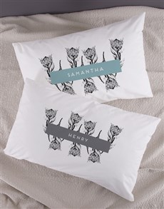 gifts: Personalised Elegant Protea Pillowcase Set!
