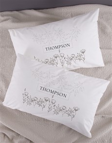 gifts: Personalised Scetch Floral Pillowcase Set!