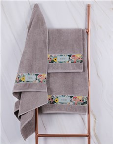gifts: Personalised Bright Floral Stone Towel Set!