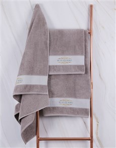 gifts: Personalised Mnr & Mev Stone Towel Set!