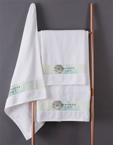 gifts: Personalised Watercolour White Towel Set!