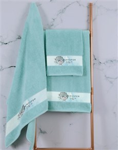 gifts: Personalised Watercolour Duck Egg Towel Set!