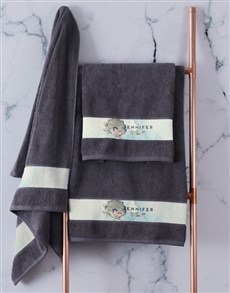 gifts: Personalised Watercolour Charcoal Towel Set!