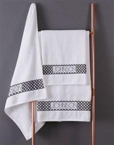 gifts: Personalised Glam Ethnic White Towel Set!