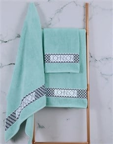 gifts: Personalised Ethnic Glam Duck Egg Towel Set!