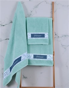 gifts: Personalised Blue Print Duck Egg Towel Set!