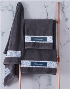 gifts: Personalised Blue Print Charcoal Towel Set!