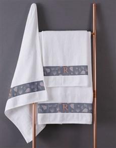 gifts: Personalised Glam Coastal White Towel Set!