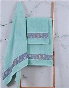 gifts: Personalised Glam Coastal Duck Egg Towel Set!