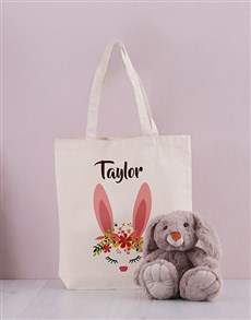 gifts: Personalised Floral Bunny Tote Bag!