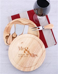 gifts: Personalised Mr & Mrs Cheese Board with Knives!
