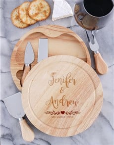 gifts: Personalised Couples Cheese Board with Knives!