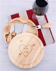 gifts: Personalised Love Cheese Board with Knives!