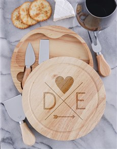 gifts: Personalised Couples Initials Cheese Board Set!