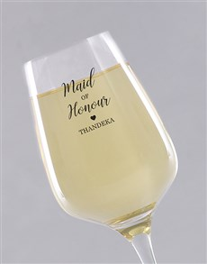 gifts: Personalised Maid Of Honour Single Wine Glass!