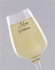 gifts: Personalised Mrs Single Wine Glass!