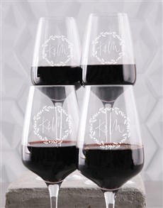 gifts: Personalised Couples Wine Glass Set!