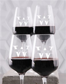 gifts: Personalised Surname Wine Glass Set!
