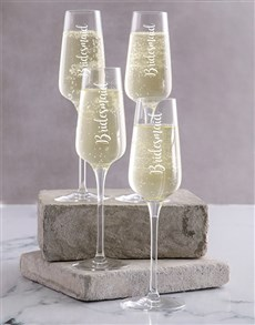 gifts: Personalised Bridesmaids Champagne Glass Set!